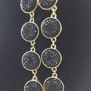 "Jewelry - 21"" Double Strand Black Diamond and Gold Necklace"
